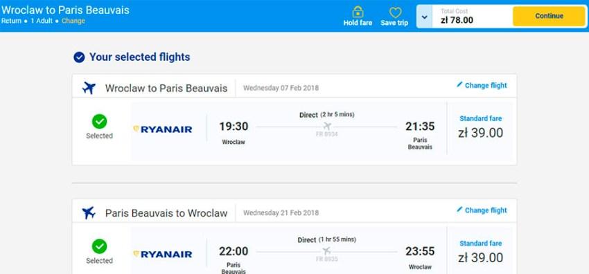Приклад бронювання перельоту Вроцлав - Париж (Бове) - Вроцлав на сайті Ryanair
