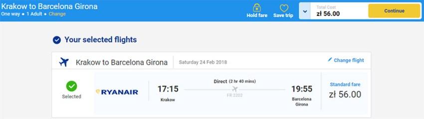 Бронювання Краків - Барселона за 13.45€ (56 zl)