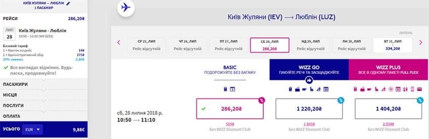 Авіаквитки Київ - Люблін зі знижкою дисконтного клубу: