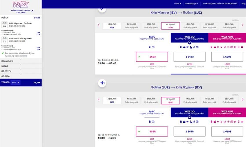 Для порівняння ціна на офіційному сайті Wizz Air: