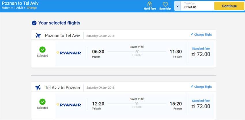 Авіаквитки Познань - Тель-Авів - Познань на сайті Rynaiar: