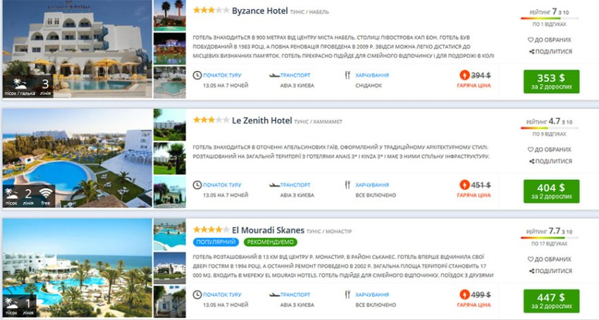 Пакетні тури з вильотом із Києва 13 травня (ціна вказана за 2-х осіб)