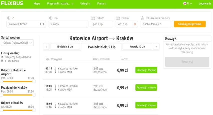 Приклад бронювання квитків Аеропорт Катовіце - Краків за 0.99 Zl (0.2€)