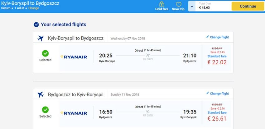 Авіаквитки з Києва у Бидгощ на сайті Ryanair. Приклад бронювання