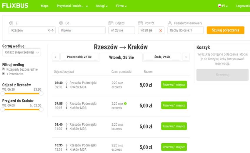Приклад бронювання автобусних квитків Жешув (Ряшів) - Краківза 1.2€