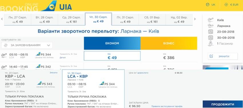 Приклад бронювання авіаквитків Київ - Ларнака - Київ: