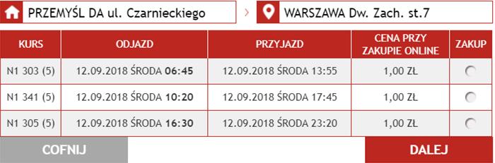 Приклад бронювання автобусних квитків Перемишль - Варшава: