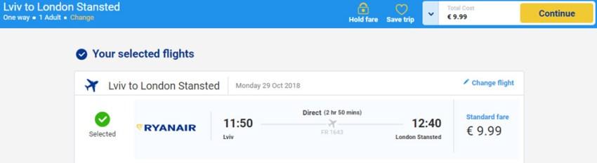 Бронювання авіаквитків Львів - Лондон на сайті Ryanair