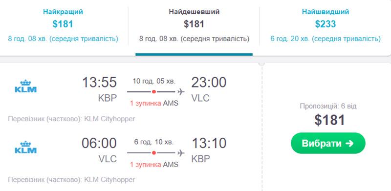 Авіаквитки з Київ - Валенсія - Київ: