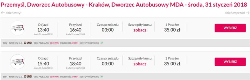 Приклад бронювання автобусних квитків Перемишль - Краків