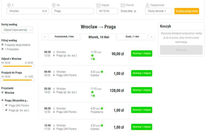Бронювання автобусних квитків Вроцлав - Прага