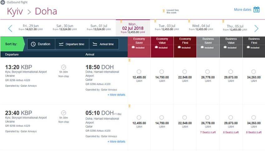 Приклад бронювання перельоту Київ - Доха на сайті Qatar Airways