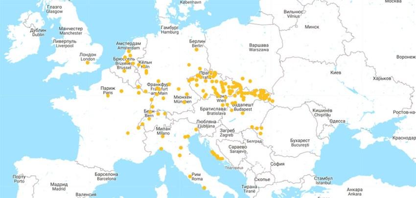 Карта маршрутів RegioJet