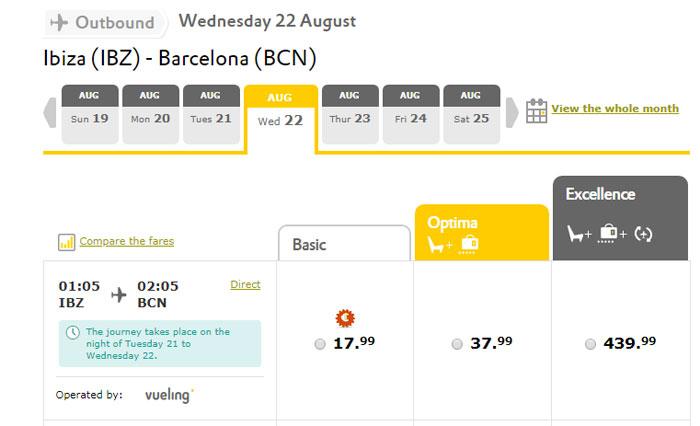 Приклад бронювання квитків Ібіца - Барселона