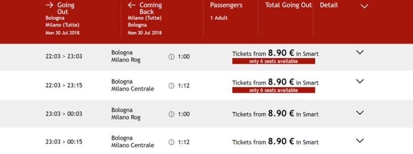 Приклад бронювання квитків Болонья - Мілан