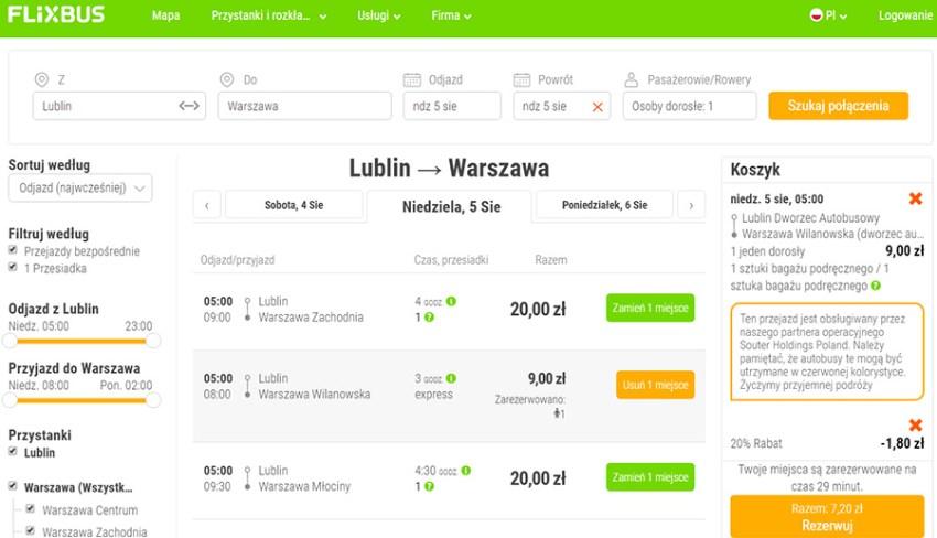 Приклад бронювання квитків Люблін - Варшава зі знижкою 20%