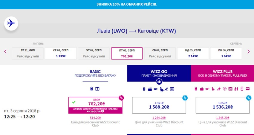 Авіаквитки Львів - Гданськ зі знижкою 20% на сайті Wizz Air