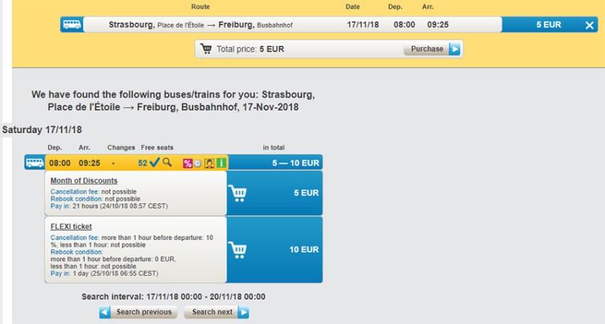 Приклад бронюванна автобусних квитків Страсбург - Фрайбург на сайті RegioJet: