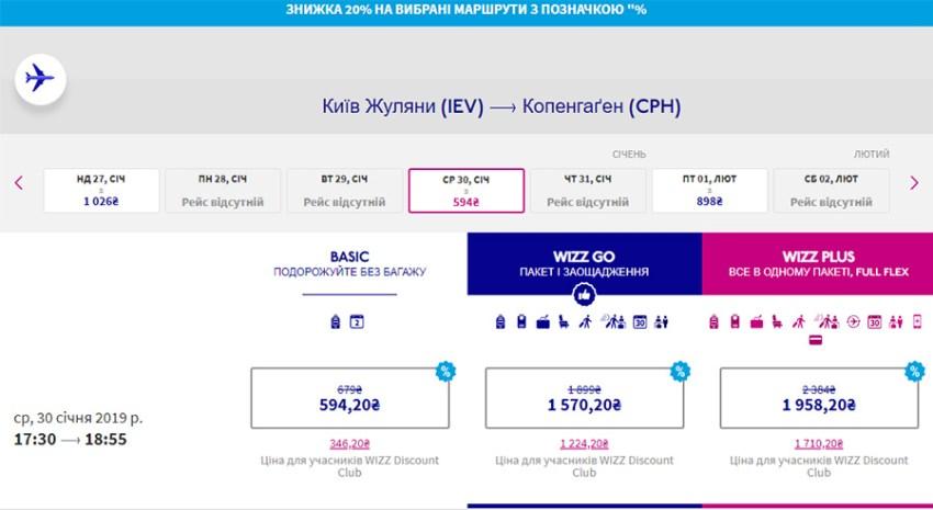 Переліт Київ - Копенгаген зі знижкою