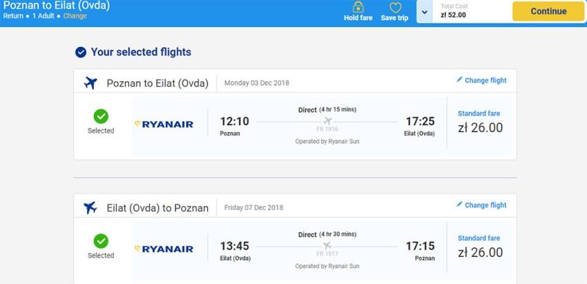 Квитки Познань - Ейлат - Познань на сайті Ryanair:
