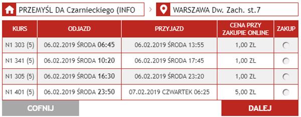Автобусні квитки Перемишль - Варшава на сайті Neobus: