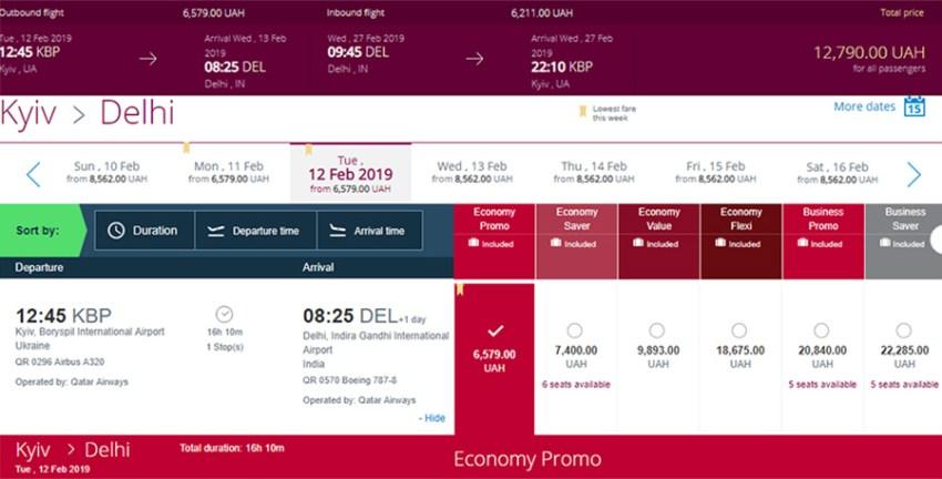 Приклад авіаквитків Київ - Делі - Київ на сайті Qatar Airways