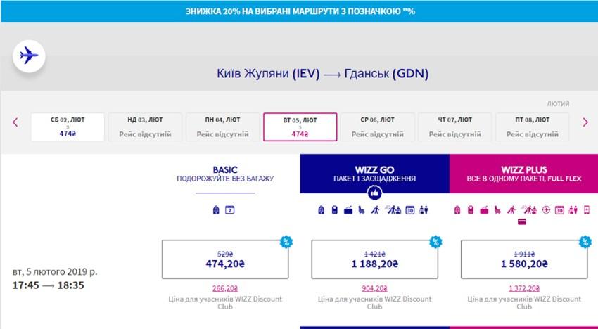 Переліт Київ - Гданськ на сайті Wizz Air: