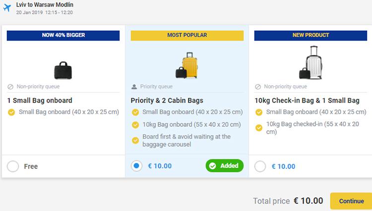 Квитки Львів - Варшава з найвищою ціною за послуги Priority & 2 Cabin Bags