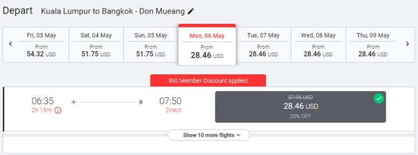 Авіаквитки Куала-Лумпур - Бангкок зі знижкою 20%