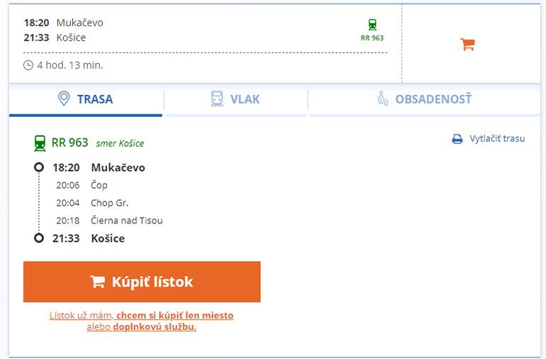 Квитки Мукачево - Кошице на сайті ZSSK