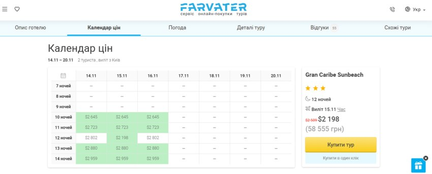 Календар цін на сайті Farvater Travel