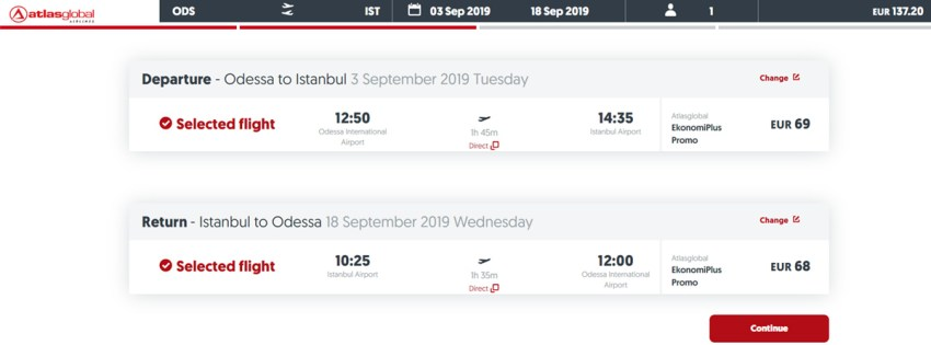 Авіаквитки з Одеси в Стамбул туди-назад на сайті AtlasGlobal