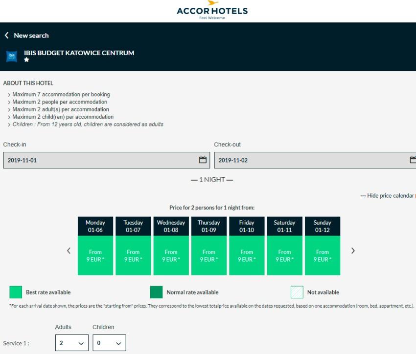 Календар цін на готель в Катовіце на сайті Accor Hotels