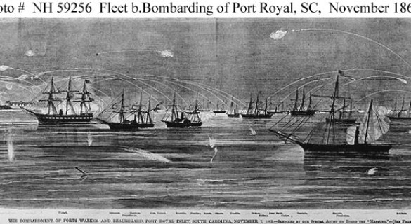 """Detail from """"Bombardment and Capture of Port Royal, SC 7 November 1861"""""""