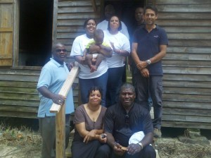 Campbell Family Members on Steps of Laurelwood Slave Cabin