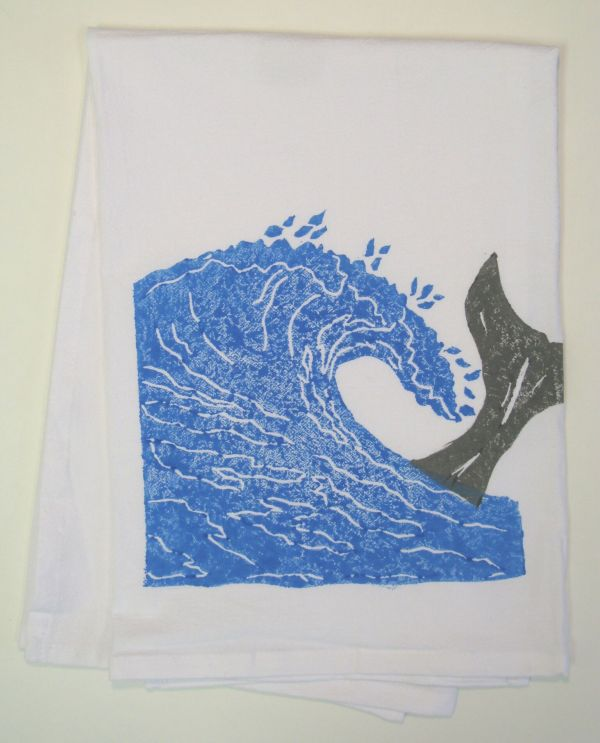 wave and whale tail towel