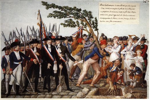 """""""Planting the Tree of Liberty,"""" by E. Le Sueur, 1792, French. The Age of Napoleon. Ed. Katell le Bourhis. NY: The Metropolitan Museum of Art / Harry N. Abrams, Inc., 1989. p. 47, pl. 24."""