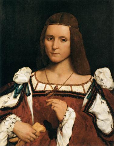 Giovanni Francesco Caroto - Portrait of a Woman, a.k.a. Isabella d'Este, Duches of Mantua (1474/1490–1539) - Louvre, Paris (1505-1510)