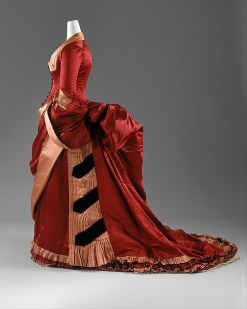 Evening Dress, American or European, c. 1884 – 1886, silk; The Metropolitan Museum of Art (C.I.63.23.3a, b)
