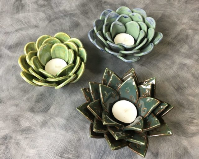 ceramic succulent tealight