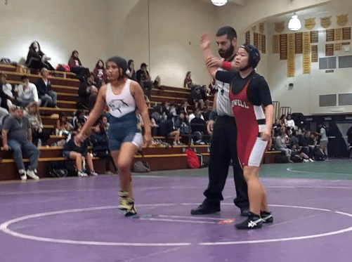 Brittney Dare moments after a quick pin victory