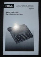 Royal Epoch Manual Typewriter Operators Manual