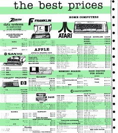 1984 computer ad on simulated green bar continous feed paper