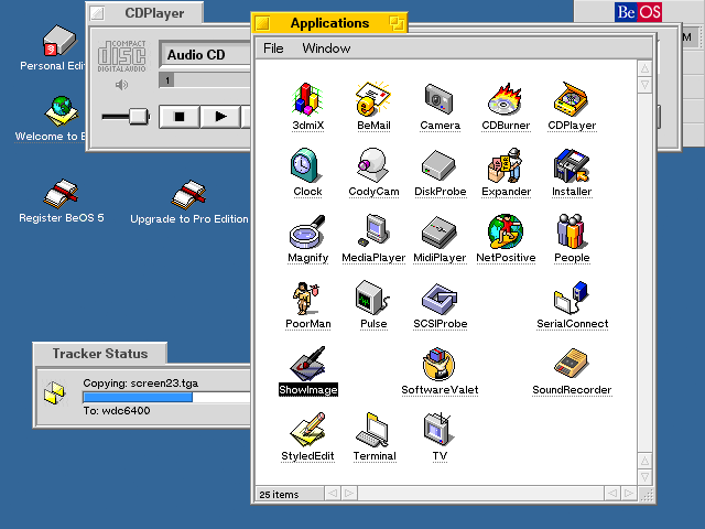 BeOS 5 screen