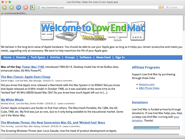 Low End Mac home page in Camino browser