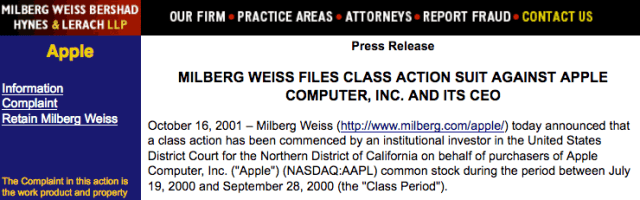 MILBERG WEISS FILES CLASS ACTION SUIT AGAINST APPLE COMPUTER, INC. AND ITS CEO