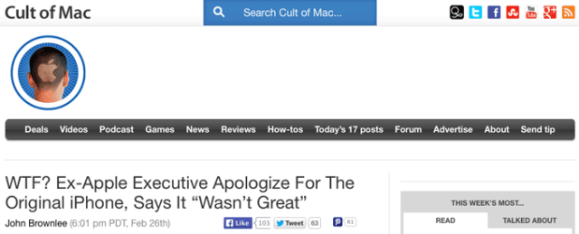 Cult of Mac headline