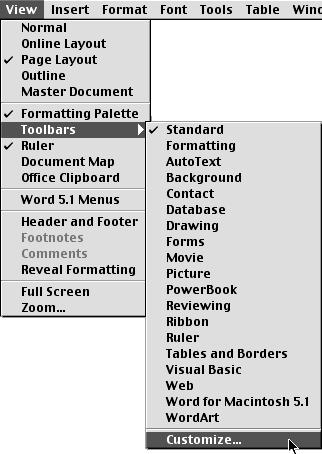 Choose Customize in Microsoft Word