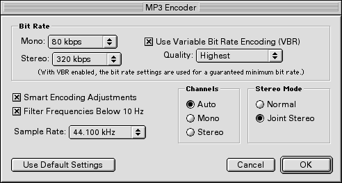 music encoding settings in iTunes