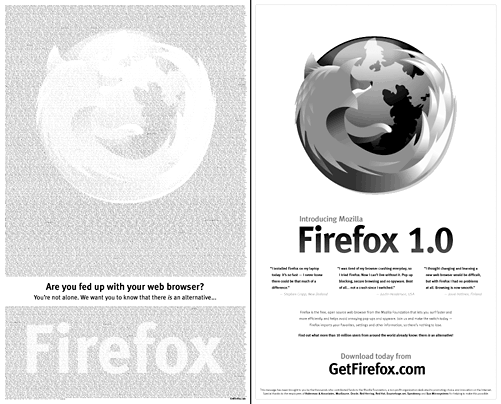 Firefox 2-page ad in The New York Times